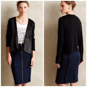 NWT Anthropologie Faux Leather Cardigan